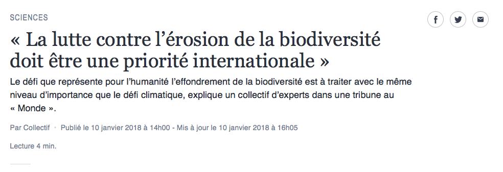 [Tribune] La lutte contre l'érosion de la biodiversité doit être une priorité internationale