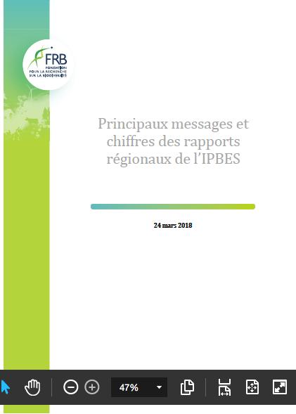 Sortie des rapports régionaux de l'Ipbes