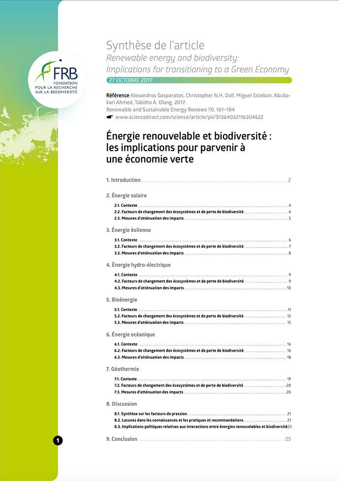 Énergie renouvelable et biodiversité : les implications pour parvenir à une économie verte
