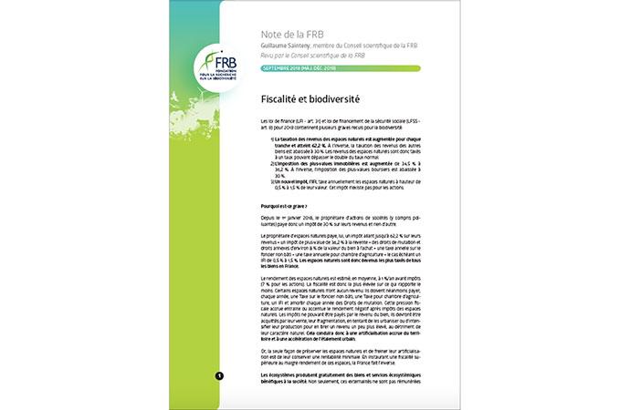 Biodiversité et fiscalité