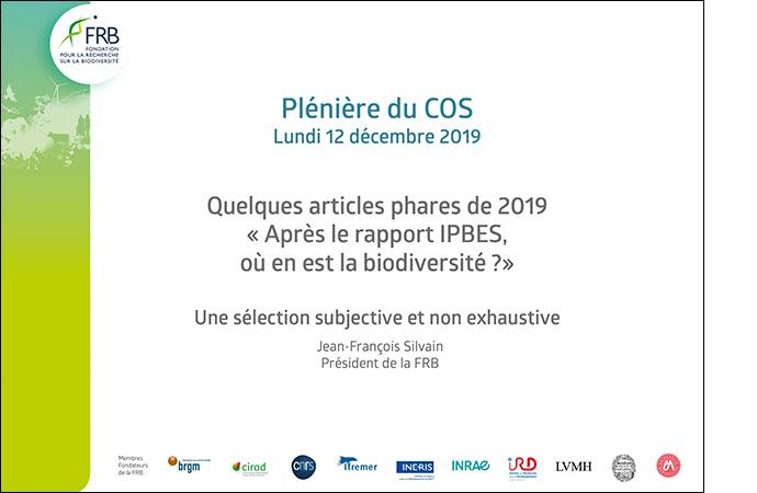 Jean-François Silvain, président de la FRB, revient sur des articles scientifiques qui ont marqué 2019