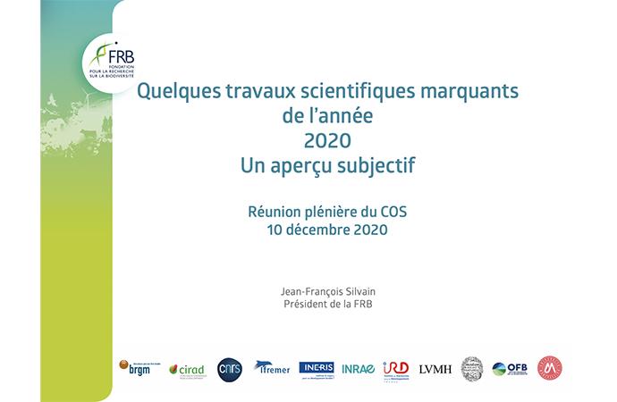 Jean-François Silvain, président de la FRB, revient sur des articles scientifiques qui ont marqué 2020